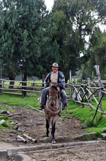 Horse_rider, Mochuelo Alto, Bogota, Colombia, South America : Stock Photo