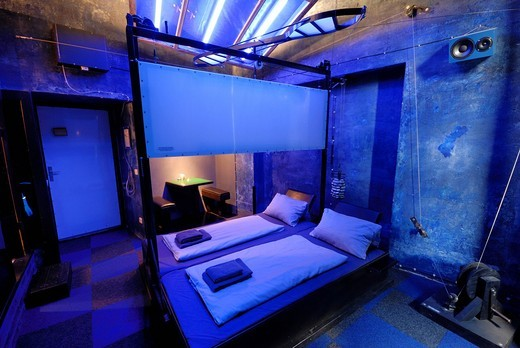 Room 34, Space_Cube, Propeller Island City Lodge Hotel, habitable work of art, designed and decorated by the artist Lars Stroschen, Albrecht_Achilles_Strasse, near the Kurfuerstendamm, Charlottenburg, Berlin, Germany, Europe : Stock Photo