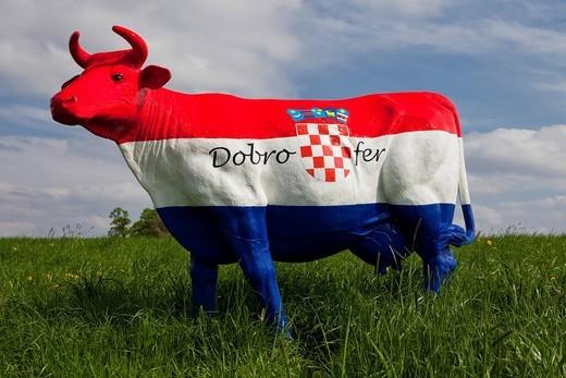 Stock Photo: 1848-476447 Protest of the farmers, fair milk, model of a cow as a symbol of fair milk prices, Croatia
