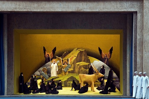Living image, tableaux vivants, Moses, the 10 Commandments and the Golden Calf, Oberammergau Passion Play 2010, Bavaria, Germany, Europe : Stock Photo
