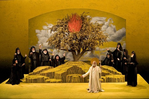 Stock Photo: 1848-476450 Living image, tableaux vivants, the Burning Bush, Oberammergau Passion Play 2010, Bavaria, Germany, Europe