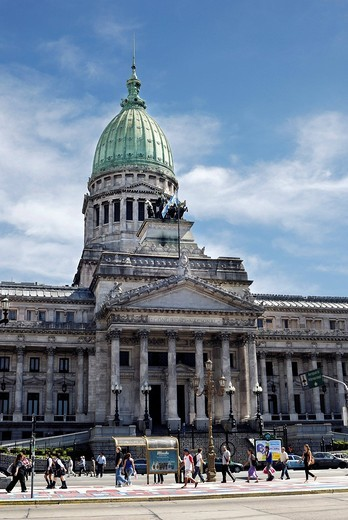 Stock Photo: 1848-476525 Congressional building, National Congress, Congreso de la Nación Argentina at Plaza del Congreso square, Balvanera district, Buenos Aires, Argentina, South America