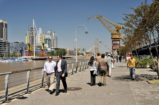 Promenade at the old Puerto Madero harbor, Puerto Madero district, Buenos Aires, Argentina, South America : Stock Photo