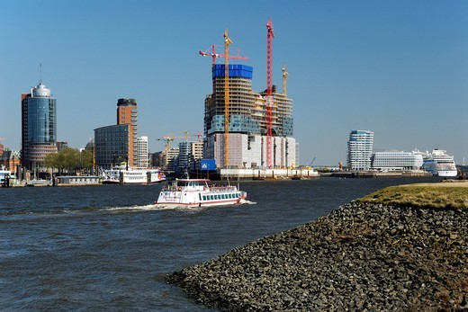 Stock Photo: 1848-476579 The Elbphilharmonie philharmonic hall under construction in the Hafencity district, Hamburg, Germany, Europe