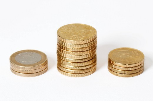 Stacked Euro coins : Stock Photo