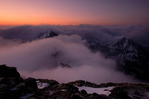 Mountain peaks with clouds during magic hour, at dawn, Graen, Tannheimertal valley, Ausserfern, Tyrol, Austria, Europe : Stock Photo