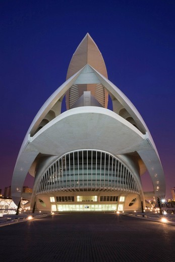 Opera house Palacio de las Artes Reina Sofia, La Ciudad de las Artes y las Ciencias, City of Arts and Sciences, Valencia, Comunidad Valencia, Spain, Europe : Stock Photo