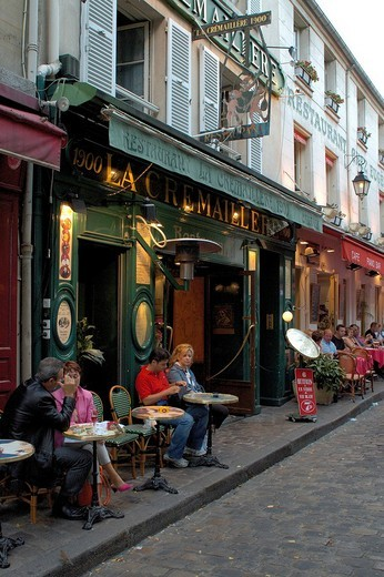 Stock Photo: 1848-47716 Montmartre, restaurant , Place du Tertre, Paris, Ile_de_France, France