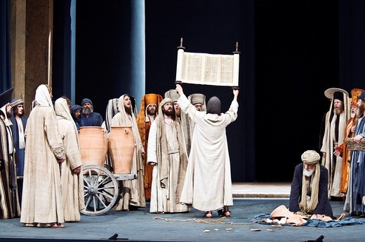 Stock Photo: 1848-477291 Jesus showing the Torah, Passionsspiele 2010 Passion Play, Oberammergau, Bavaria, Germany, Europe