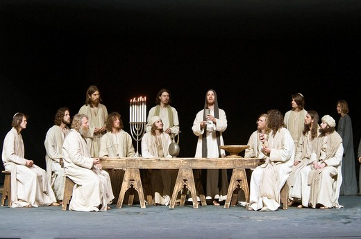 Stock Photo: 1848-477292 Jesus passes the wine, Last Supper, Passionsspiele 2010 Passion Play, Oberammergau, Bavaria, Germany, Europe