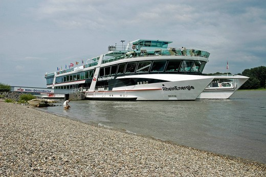 Passenger ship, Lower Rhine, North Rhine_Westphalia, Germany : Stock Photo