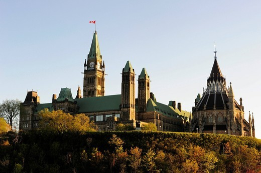 The government buildings on Parliament Hill, Ottawa, Ontario, Canada : Stock Photo