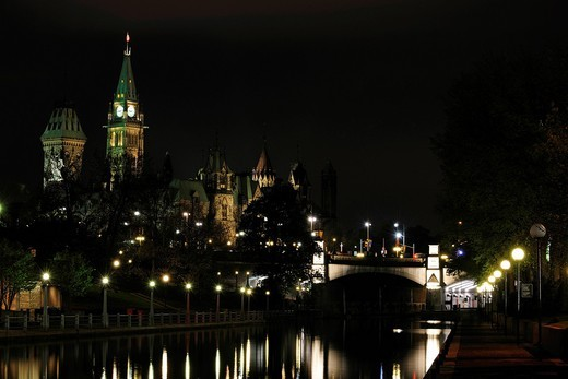 The Rideau Canal, in the back the Government House, Ottawa, Ontario, Canada : Stock Photo