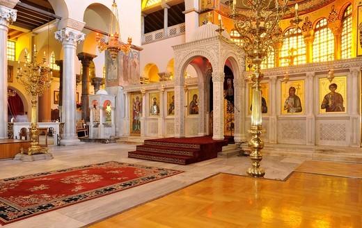 Interior, Church of Saint Demetrius or Hagios Demetrio, Thessaloniki, Chalkidiki, Macedonia, Greece, Europe : Stock Photo