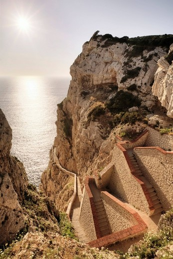 652 steps leading down to the stalactite cave Grotta di Nettuno, Neptune´s Grotto, Sardinia, Italy, Europe : Stock Photo