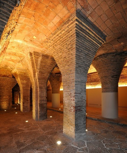 Interior view, Byzantine vaulted cellar, brick arches, townhouse Palau Gueell, designed by Antoni Gaudi, UNESCO World Heritage Site, Barcelona, Catalonia, Spain, Europe : Stock Photo