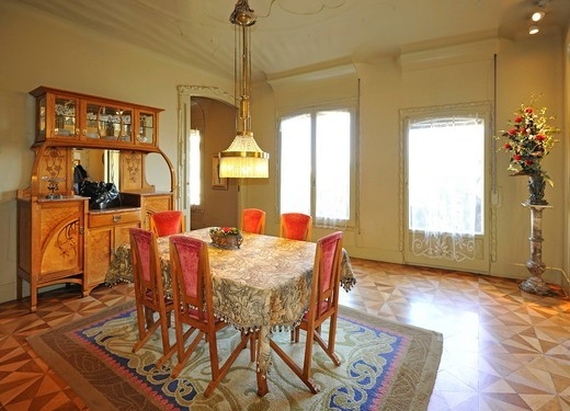 Stock Photo: 1848-478488 Dining room and living room, show apartment, museum, Casa Milà, designed by Antoni GAUDI, UNESCO World Heritage Site, Barcelona, Catalonia, Spain, Europe
