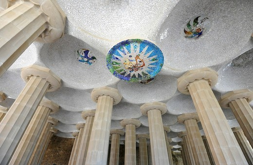Ceiling of the Sala Hippostila, Park Gueell, Parc or Parque Gueell, designed by Antoni Gaudí, UNESCO World Heritage Site, Barcelona, Catalonia, Spain, Europe : Stock Photo