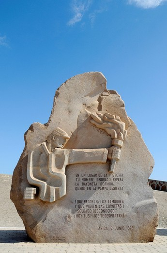 Memorial, monument, El Morro, mountain, landmark, theater of war, War of the Pacific, Arica, Norte Grande, North Chile, Chile, South America : Stock Photo