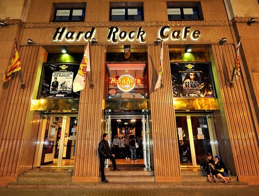 Night shot, Hard Rock Cafe, Barcelona, Catalonia, Spain, Europe : Stock Photo