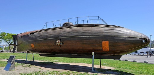 Replica of the Ictineo II, the world´s first submarine, inspiration for the Nautilus, Port Vell, Barcelona, Catalonia, Spain, Europe : Stock Photo