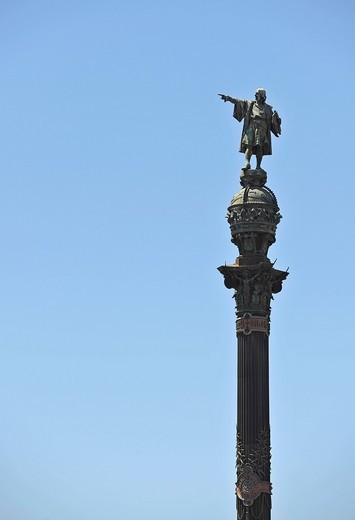 Columbus monument, Monumento a Colón, Barcelona, Catalonia, Spain, Europe : Stock Photo
