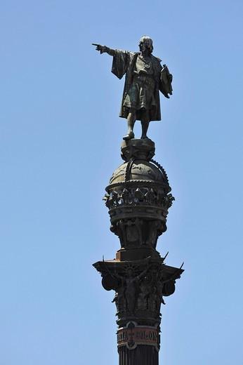 Stock Photo: 1848-479005 Columbus monument, Monumento a Colón, Barcelona, Catalonia, Spain, Europe