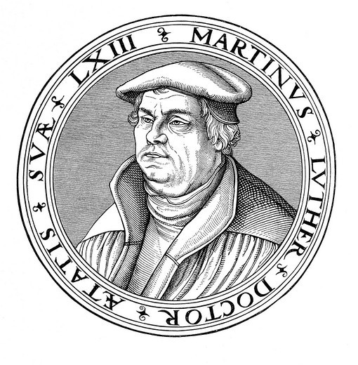 Portrait of Martin Luther in his 63rd year, old woodcut from Cranach´s School, historical image from History of German Literature from 1885 : Stock Photo