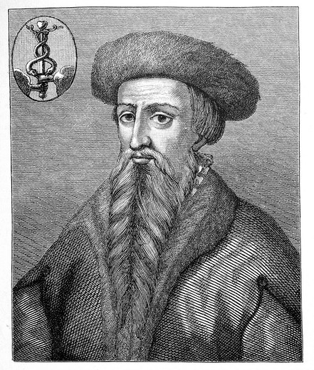 Hans Lufft, Luther´s Bible printer, historical image from History of German Literature from 1885 : Stock Photo