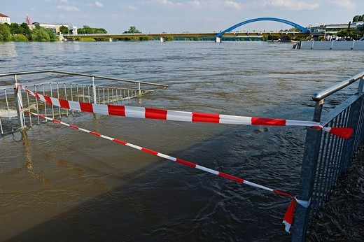 Flooded Oder River promenade in front of the Stadtbruecke bridge, Oder River flood in 2010, Frankfurt Oder, Brandenburg, Germany, Europe : Stock Photo