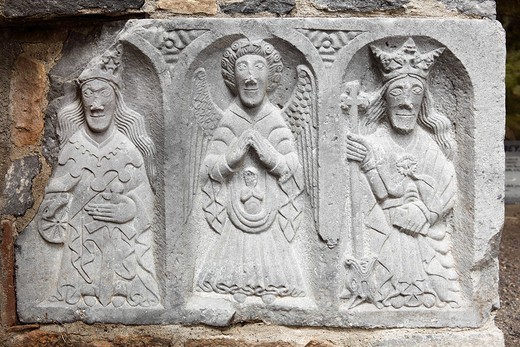 Group of figures called The Weepers in the northern transept, Jerpoint Abbey, County Kilkenny, Republic of Ireland, British Isles, Europe : Stock Photo