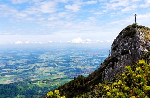 Stock Photo: 1848-479271 Summit cross on the Hochfelln, Upper Bavaria, Germany, Europe