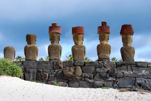 Stock Photo: 1848-479726 Moai, in Ahu Nau Nau, Easter Island, Rapa Nui, Pacific