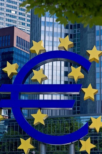 Stock Photo: 1848-479939 Euro symbol in front of the European Central Bank, ECB, in Frankfurt, Hesse, Germany, Europe