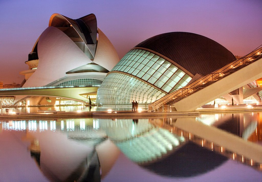 Stock Photo: 1848-48003 ESP, Spain, Valencia : Ciudad de las Artes Y de las Ciencias, City of arts and sciences. L´Hemisferic and Palau de les Arts Reina Sofia