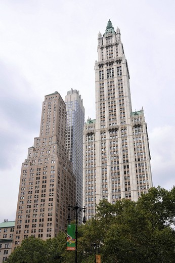 Woolworth Building, City Hall Park, Financial District, New York City, New York, USA, United States, North America : Stock Photo