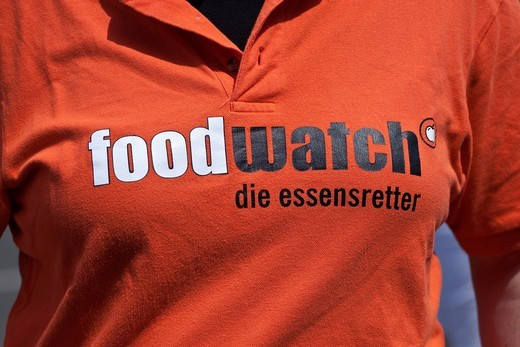 Stock Photo: 1848-480360 Logo of the organization foodwatch – the food saver at the Environmental Festival in Berlin, Germany, Europe