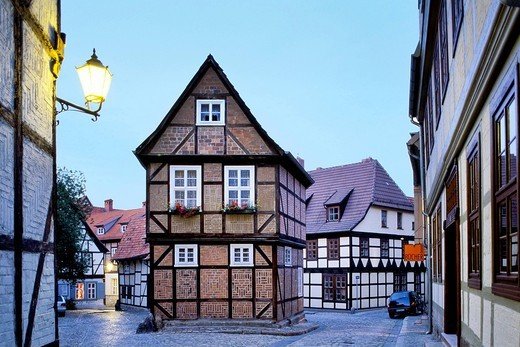 Half_timbered house in Finkenherd, Quedlinburg, Harz, Saxony_Anhalt, Germany, Europe : Stock Photo