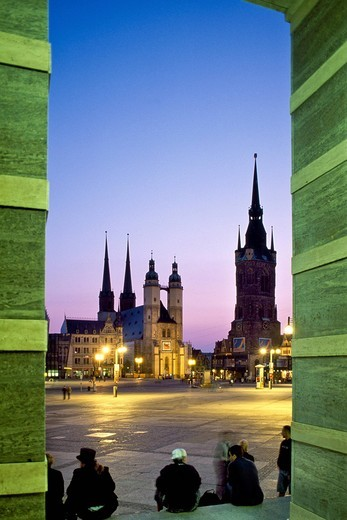 Market square, Red Tower, Halle, Saxony_Anhalt, Germany, Europe : Stock Photo