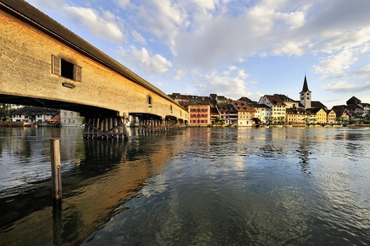 Stock Photo: 1848-480736 The historic wooden bridge over the Rhine was opened in 1816 and connects the German municipality of Gailingen and the Swiss municipality of Diessenhofen, district of Konstanz, Baden_Wuerttemberg, Germany, Europe