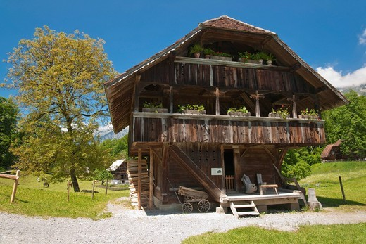 Stock Photo: 1848-480739 Swiss farmhouse in the Open Air Museum Hofstetten near Brienz, Canton Bern, Switzerland, Europe