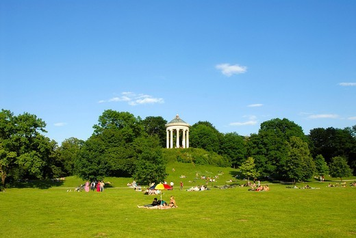 Stock Photo: 1848-480851 English Garden, park, lawn and Monopteros temple, leisure, Munich, capital, Upper Bavaria, Bavaria, Germany, Europe