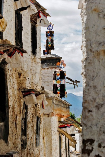 Small lane, Palcho Monastery or Pelkor chode or Shekar, Gyantse, Tibet : Stock Photo