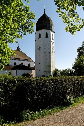 Saint Irmingard church bell tower, Fraueninsel island, lake Chiemsee, Chiemgau, Upper Bavaria, Germany, Europe : Stock Photo
