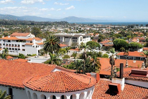 Stock Photo: 1848-480971 View from the court house of Santa Barbara Country, Santa Barbara, California, United States, USA