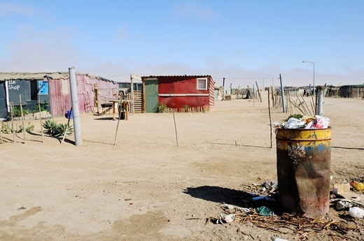 Rubbish and tin shack ut in the Mondesa township, Swakopmund town, Namibia, Africa : Stock Photo
