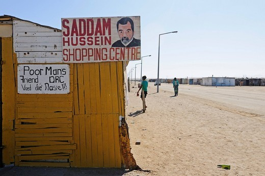 Stock Photo: 1848-481402 Saddam Hussein Shopping Centre shop in the Mondesa township, Swakopmund town, Namibia, Africa
