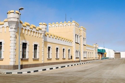 Old barracks, architecture from the German colonial period, now Hostel, Swakopmund, Erongo region, Namibia, Africa : Stock Photo