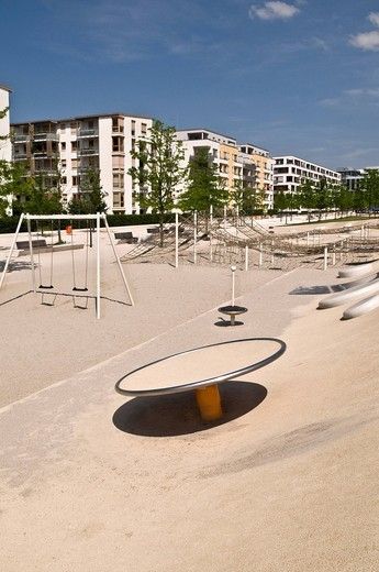 New, large and modern play ground in a new estate, Arnulfpark, Munich, Bavaria, Germany, Europe : Stock Photo