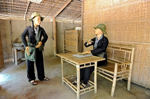 Re_enactment of scene from the Vietnam War with life_size dolls in the open_air war museum in Cu Chi, South Vietnam, Vietnam, Southeast Asia, Asia : Stock Photo